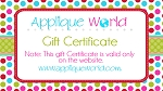 Applique World Gift Certificate